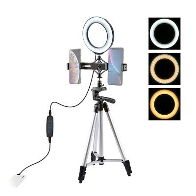 LED Selfie Ring Light Kit Studio Photo Video Dimmable Lamp Tripod Phone Holder