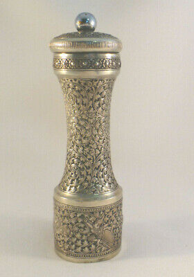 Siam? 900 Sterling Silver Decorated Pepper Mill- 6 3/4""