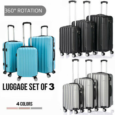 3PCS Travel Luggage Carry On Set Trolley Suitcase 360°Spinner Wheel ABS w/Lock