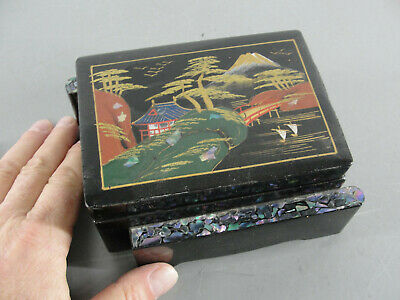 💎 Black Lacquer Enamel Asian Petite Jewelry Box Mop Inlay Antique Japanese