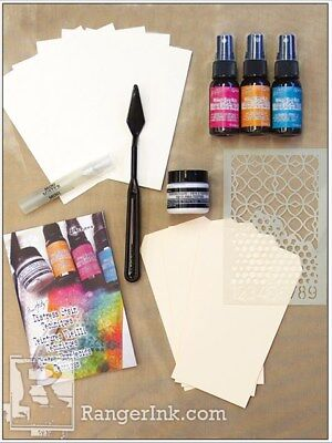 Tim Holtz Distress Mixed Media Spray Stain Kit -Texture Paste, Stencil, Tags