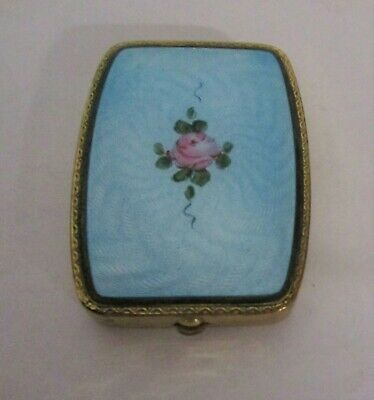 Vintage Gold Plated Square Guilloche Enamel Blue W Rose Powder Compact