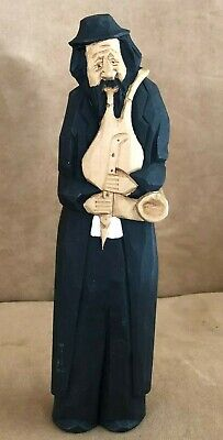 "Wood Carved figure musician black dress 9"" handmade man playing music"