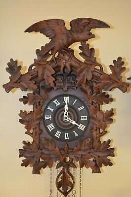 Antique German Black Forest Quail Cuckoo Clock With Large Eagle
