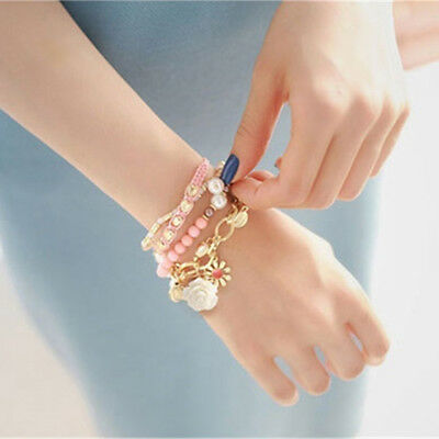 Boho Vintage Elastic Bangle Bead Chain Multilayer Flower Bracelet LG