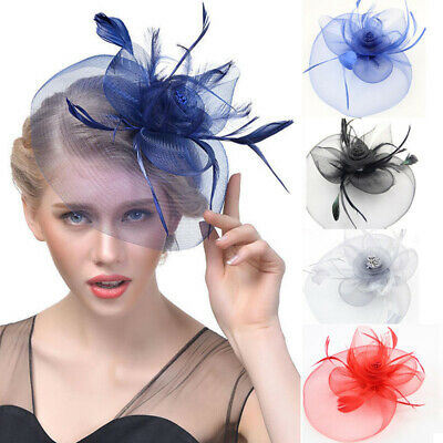 Women Feather Mesh Fascinator Hat Headband Hair Clip Accessories for Tea party
