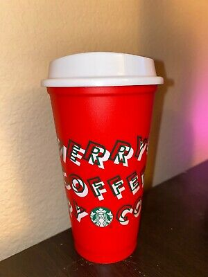 Starbucks 2019 Holiday Christmas Merry Coffee Hot Reusable Cup Red Brand New