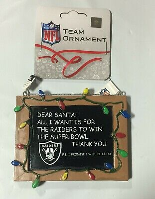 Oakland Raiders Christmas Tree Ornament Chalkboard - All I want is a Superbowl