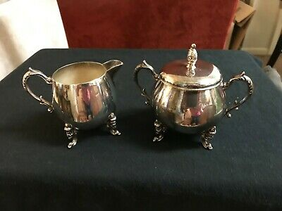 Vintage Sheridan Silver On Copper Creamer And Sugar With Lid