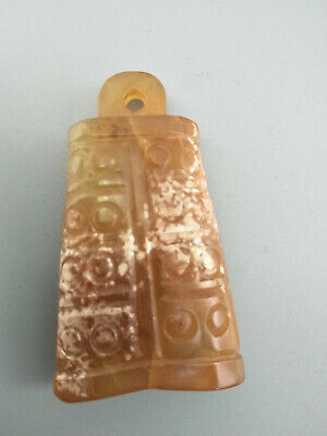 Exquisite Hand-carved old jade bell Pendant F121