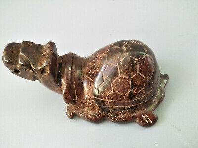 Chinese Exquisite Hand-carved old jade dragon turtle G105