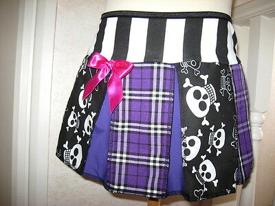 Monster High outfit Girls Black White purple Skulls Strips Tartan Skirt top Set