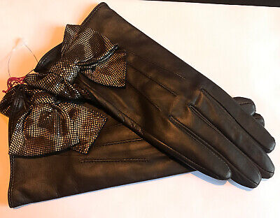 Dents Ladies Mocca Brown Lined Soft Leather Gloves Size 7 Medium Bnwt
