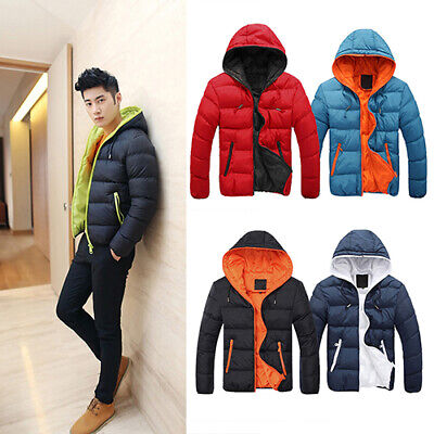 Men Casual Jacket Winter Warm Quilted Padded Hooded Zipper Coat Clothes USA