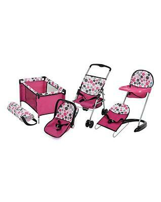 6 Piece Doll Play Set Pram Stroller Highchair Cot Bouncer Girls Toy Gift