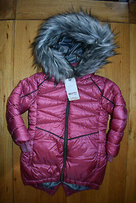 BNWT NEXT 2-3 years girls RASPBERRY PINK WINTER COAT/JACKET *FAUX FUR HOOD TRIM