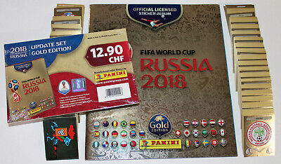 Panini WC WM RUSSIA 2018 SWISS GOLD EDITION 682 COMPLETE SET + ALBUM + UPDATES