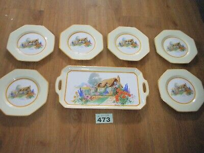 Tams Ware China Sandwich Plate Set Thatched Cottage