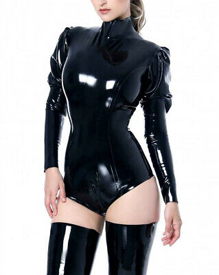 Latex Catsuit Rubber Gummi Leotard Puff sleeves taper to fitted Customized 0.4mm