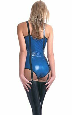 Latex Catsuit Rubber Gummi Blue Leotard With Suspender Sexy Cool Customized .4mm