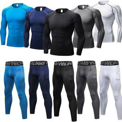Men's Compression Baselayer Thermal Skins Top + Leggings Set Shirt Pants Sports