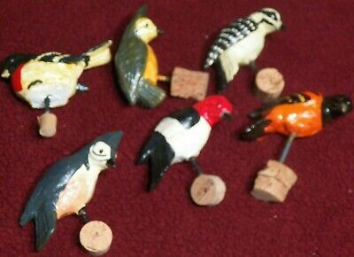 6 Rare solid Cast Iron or Lead Woodpecker Birds w Screws Attached Very Heavy