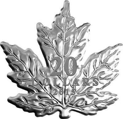 Canada - 2015 'The Canadian Maple Leaf' Shaped Proof $20 Silver Coin w Box/COA