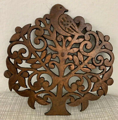 Decorative Cast Iron Trivet Tree Design Kitchen Hot Pad 7""