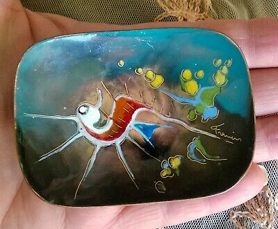 Vintage RETRO Abstract MODERNIST ~ PIN DISH ~ Enamel on COPPER ~ Signed RARE
