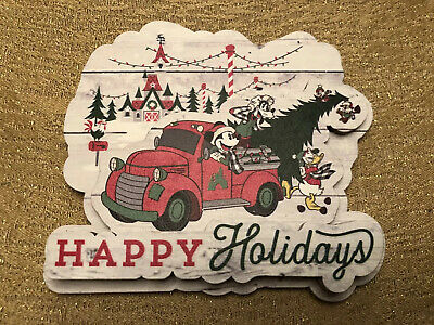 Disney Parks 2019 Christmas Happy Holidays Wood Magnet New