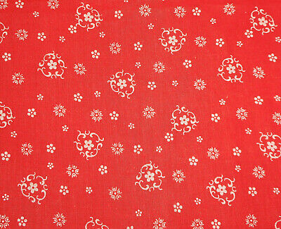 Antique 19thc Red Floral Calico Cotton Fabric ~ Dolls Quilts Period Projects