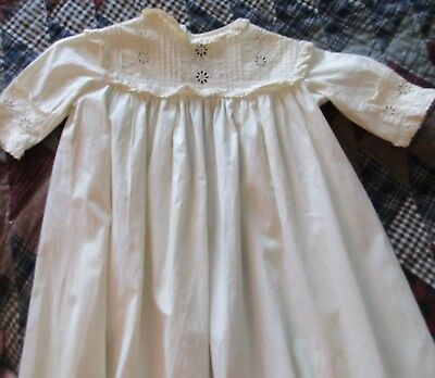 """Antique Infant Cotton Eyelet & Pleated Gown Christening Gown Dress 44"""" Long"""
