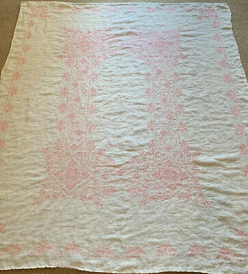 Vintage Fine Woven Linen Embroidered Pink Cross Stitch Floral Tablecloth 61 1/2""