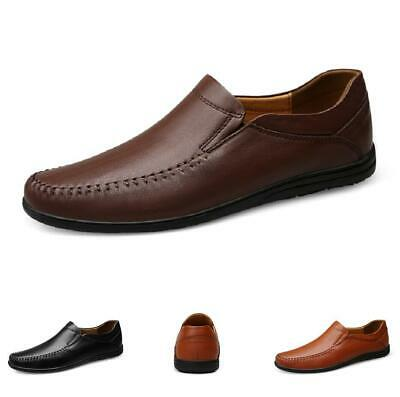 Mens Driving Moccasins Flats Slip on Leather Loafers Shoes Soft Non-slip Comfy