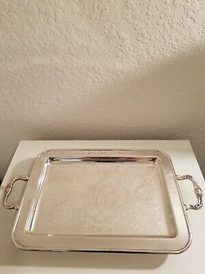 "Leonard Silverplated Serving Tray-Footed-17""L x 10""W"