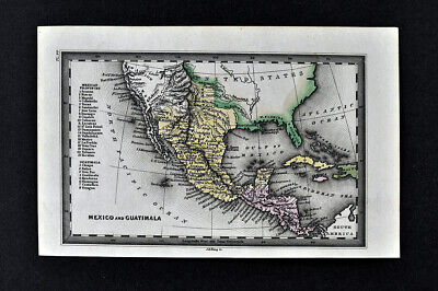 1834 Carey Map SW United States Mexico Texas California New Albion Guatemala