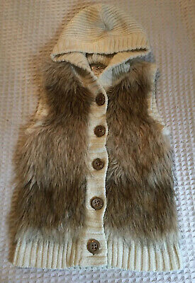 Justice Girls Cream Faux Fur Sleeveless Button Down Hooded Sweater Sz 12