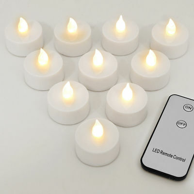 1-12 Led Tea Lights Candles Remote Control Battery Operated Flameless Flickering