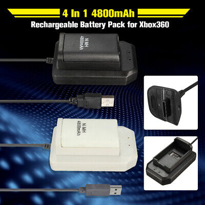 Rechargeable 4800mAh Battery USB Charger Cable Dock For XBox360 Controller