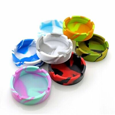 Silicone Round Ashtray Heat Resistant Portable Camouflage Ashtray Container New