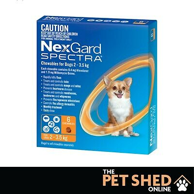 NexGard Spectra Worm Tick Flea Very Small Dogs 2-3.5kgs Orange..... 3 OR 6 PACK