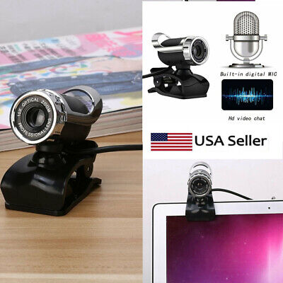 USB 2.0 Web Cam with MIC Laptop Computer HD Camera 12 Megapixel Clip-on 360dg