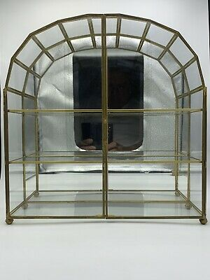 Franklin Mint Vtg Glass  Brass Small Curio Cabinet Central Piece Insured Postage