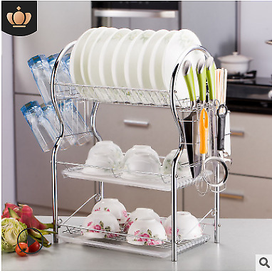 Over Sink Dish Drying Rack Drainer Stainless Steel Kitchen Cutlery Holder Art
