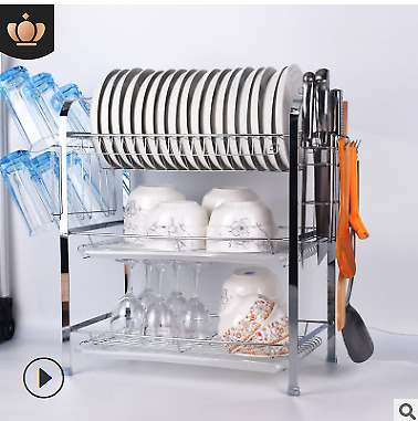 3 Tier Over Sink Dish Drying Rack Drainer Stainless Steel Kitchen Holder Drainer
