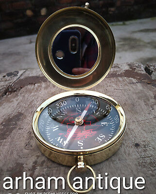 Working Compass Nautical Solid Brass  Marine Maritime Astrolabe Compass Gift