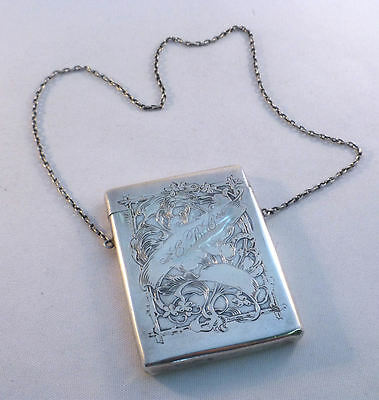 Kerr Floral Sterling Vintage Decorated Card Case W/ Chain-Mono EBC