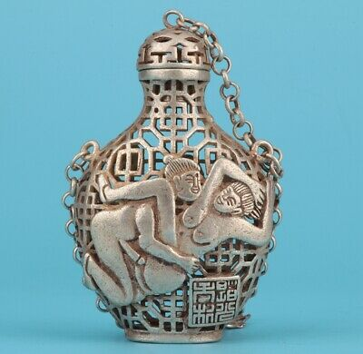 China Tibet Silver Hand-Carved Beauty Snuff Bottle Pendant Art Collection Old