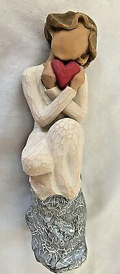 """Willow Tree 6"""" Sitting Woman ALWAYS Holding Red Heart Figurine"""