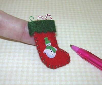 WHITE w//RED Cuff: DOLLHOUSE 1:12 PLAIN Miniature Felt Christmas Stocking